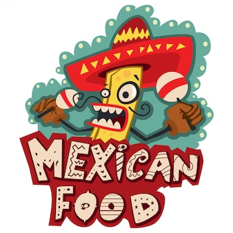 Mexican food vector artoon illustration with burrito in sombrero hat and with maracas isolated on white