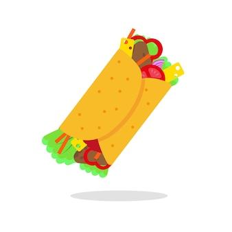 멕시코 음식 벡터 일러스트 레이 션. 흰색 바탕에 부리또 아이콘입니다.