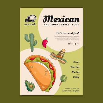 Mexican food vertical flyer template