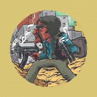 Мексиканский гангстер с двумя пистолетами