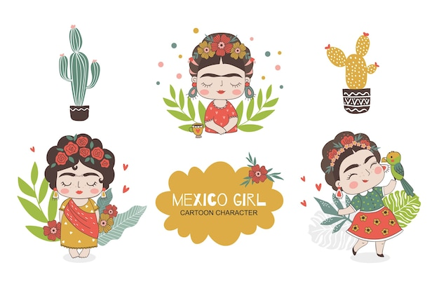 Mexican girl character doodles collection.