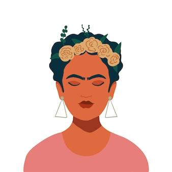 머리에 꽃 화 환을 가진 멕시코 소녀