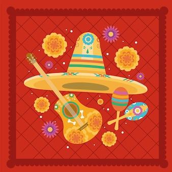 멕시코 기타와 모자