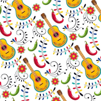 Mexican guitar with flowers decoration background