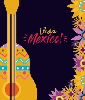 Mexican guitar with flowers design, mexico culture theme