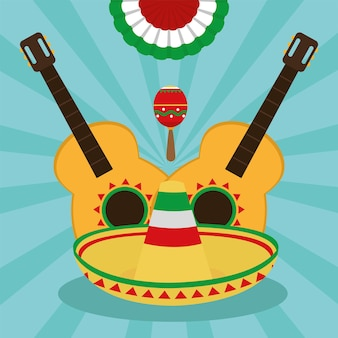 Mexican guitars and hat
