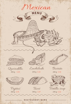 Mexican hand drawn menu