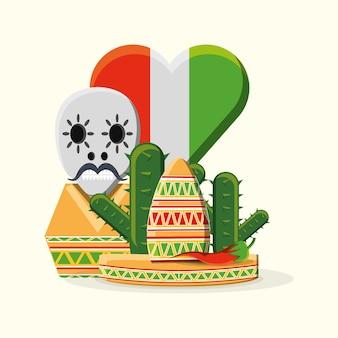 メキシコの帽子と頭蓋骨、白い背景の上に心臓の形のメキシコの旗の上にサボテンと