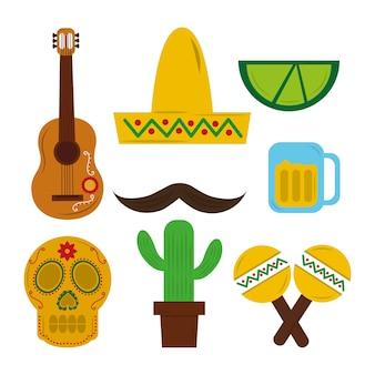 Мексиканская шляпа гитары черепа марака текила кактус усы