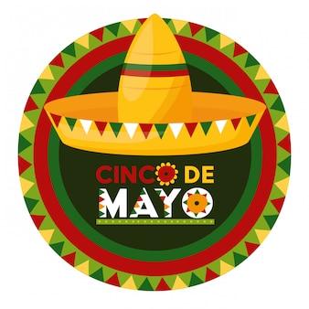 Mexican hat label, cinco de mayo, mexico illustration