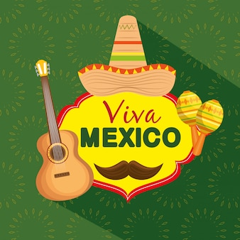Mexican hat with guitar and maracas to celebrate event