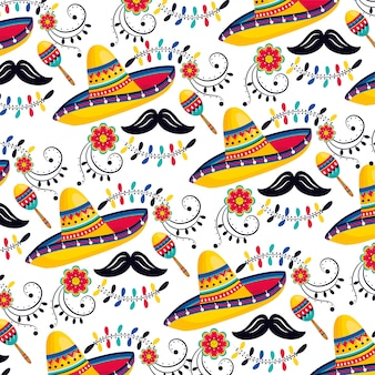 Mexican hat with maracas and mustache background