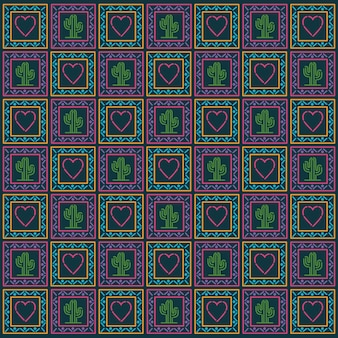 Mexican heart and cactus pattern background design.