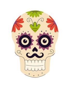 멕시코 전통 꽃과 식물 패턴이 있는 죽은 설탕 두개골의 멕시코 휴일