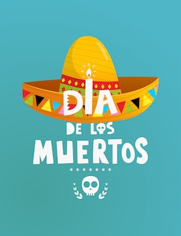 Mexican holiday dia de los muertos symbols poster or invitation design with hand lettering