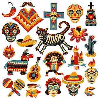 Mexican holiday elements set