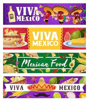 Мексиканская праздничная еда и музыкант с перцем чили, баннеры viva mexico.