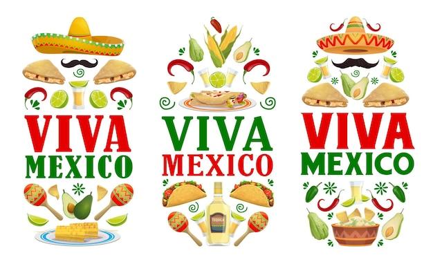 Мексиканские праздничные баннеры с едой на вечеринке viva mexico fiesta