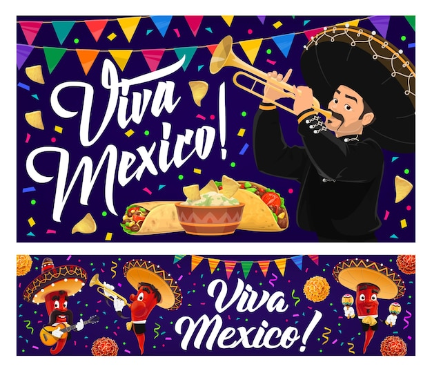 Mexican holiday food and mariachi banners, viva mexico. red chilli pepper musician characters, sombrero, maracas and trumpet, taco, burrito, avocado guacamole and nachos with bunting garland