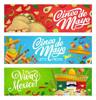 Mexican holiday food, sombrero, guitar and maracas