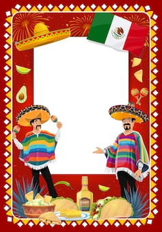 Mexican holiday  frame with mariachi musicians at cinco de mayo festival. music band  characters in sombrero and poncho playing maracas. tacos, guacamole or tequila fiesta carnival border