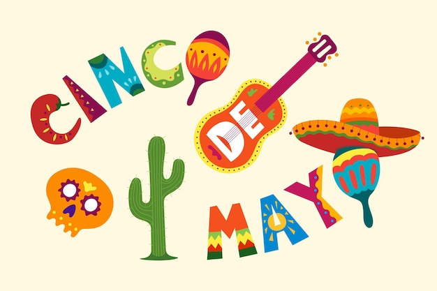 Mexican holiday may celebration cinco de mayo beautiful vector illustration with cartoon design