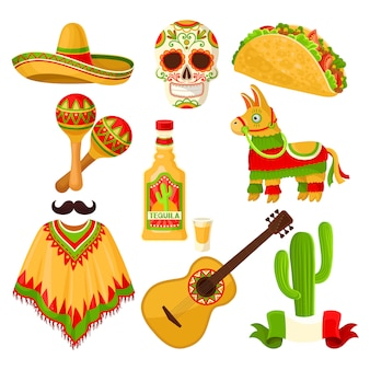 Mexican holiday symbols set, sombrero hat, sugar skull, taco, maracas, pinata, tequila bottle, poncho, acoustic guitar  illustrations on a white background