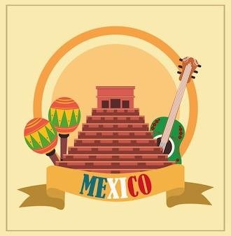 День независимости мексики, древняя пирамида, гитара, маракасы, отмечается в сентябре иллюстрации