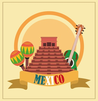 Mexican independence day, ancient pyramid guitar maracas ribbon, celebrated on september illustration