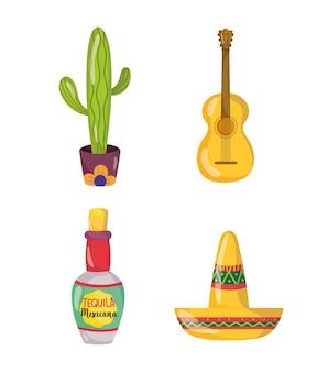 メキシコの独立記念日、サボテン帽子ボトルテキーラと帽子、ビバメキシコは9月の図に祝われます
