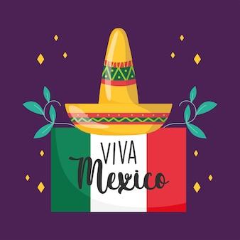 День независимости мексики, цветочное украшение флага шляпы, viva mexico празднуется в сентябре иллюстрации