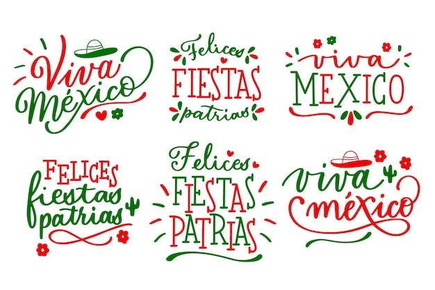 Mexican independence day lettering badges