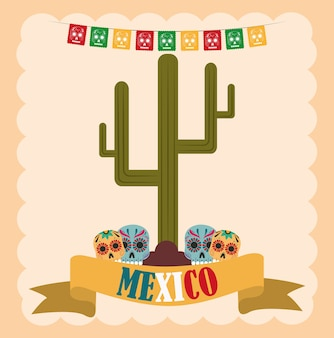 Mexican independence day, skulls catrina and cactus cartoon, celebrated on september illustration