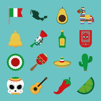 Mexican independence icon set design