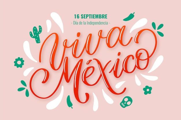 Mexican independence lettering concept