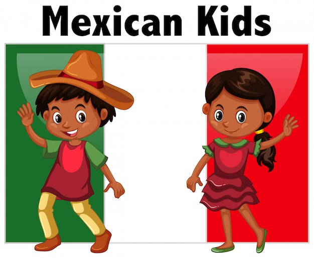 Mexican kids with flag