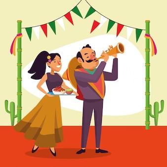 メキシコ人男性と女性