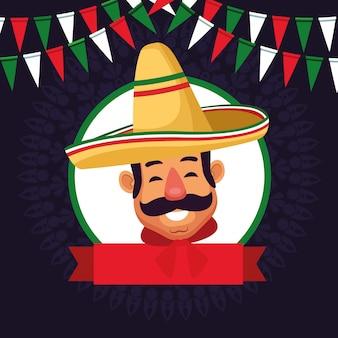 Mexican man face avatar icon cartoon