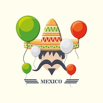 メキシコ人のアイコンと風船の周りの白い背景