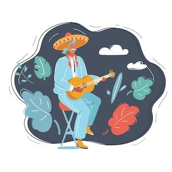 어둠 속에서 기타를 연주하는 멕시코 남자