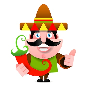 Mexican man in sombrero and poncho showing okey sign