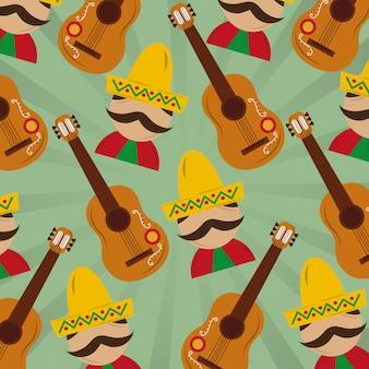 メキシコ人、帽子、ヒゲ、ギター、パターンイメージ
