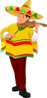 Mexican man with hat and poncho playing violin