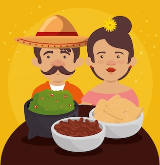 Mexican man and woman with tradition food