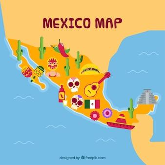 Мексиканская карта с элементами культуры
