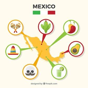 문화 요소와 멕시코지도 무료 벡터