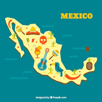 Mexican map with cultural elements