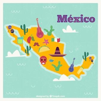 文化的要素を持つメキシコの地図