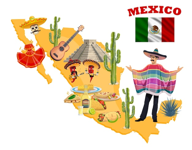 Mexican map with mariachi, red chilli pepper musicians, sombrero hats, maracas and guitar, flag of mexico, cactuses and tequila, taco, burrito and quesadilla. mexican holiday greeting card