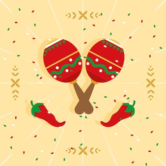 Mexican maracas and peppers